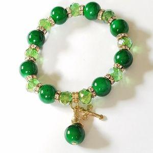 Jewelry - Green stretch bracelet with cross charm